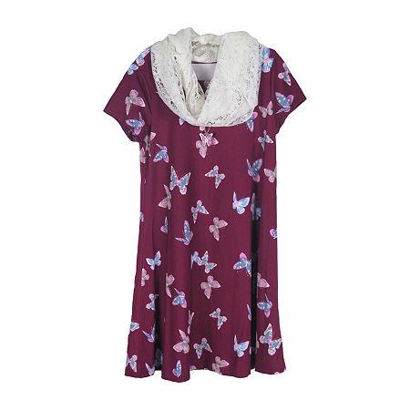 Lilt Little & Big Girls Short Sleeve Fitted Sleeve Animal A-Line Dress, X-large (16) , Purple
