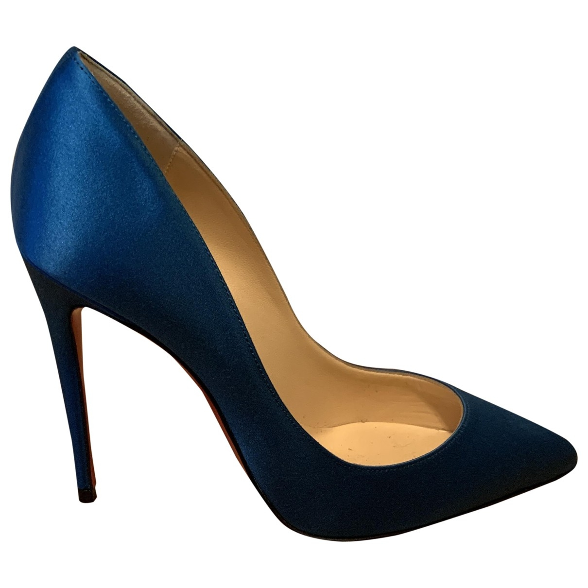 Christian Louboutin Pigalle Blue Cloth Heels for Women 1 UK