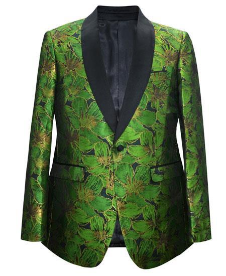 Cheap Mens Printed Flower Jacket Prom modern Tux Green
