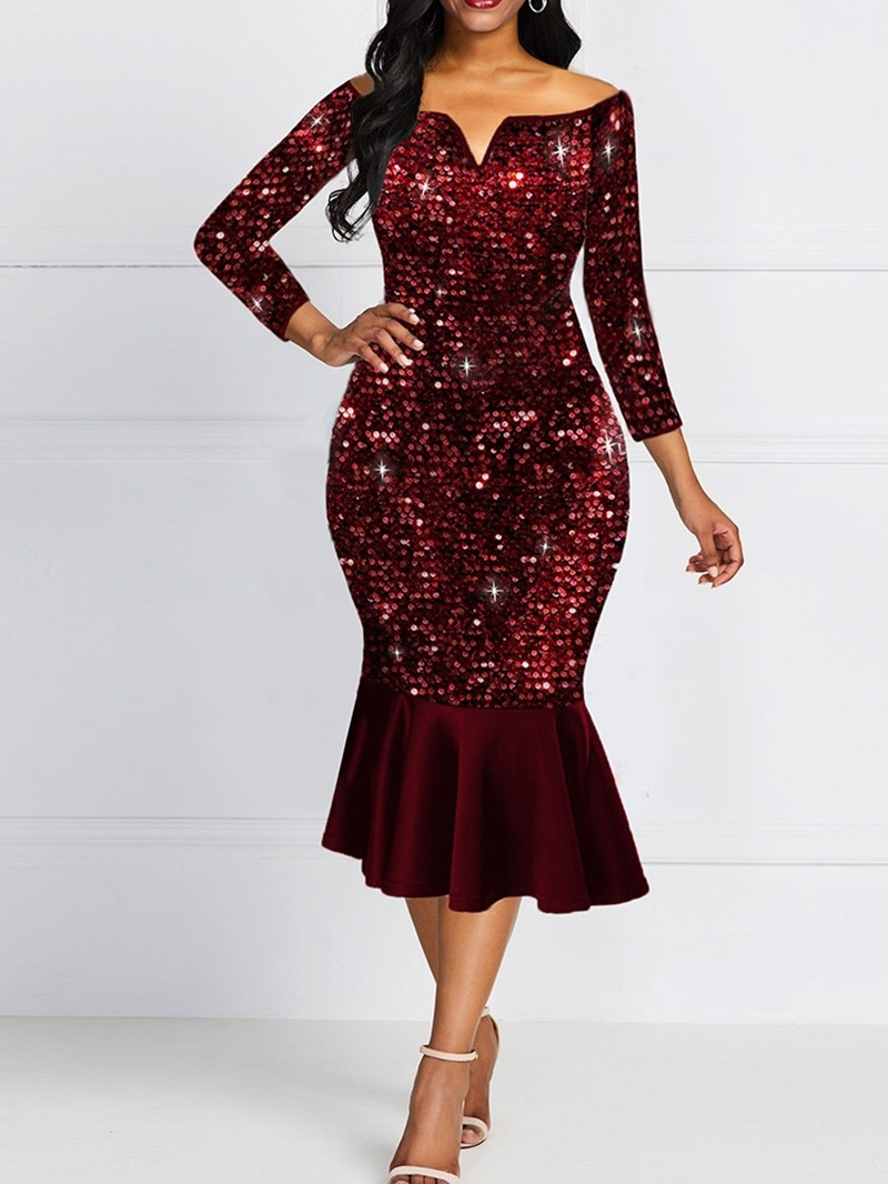 Ericdress Mid-Calf Sequins Three-Quarter Sleeve Cold Shoulder Mid Waist Dress