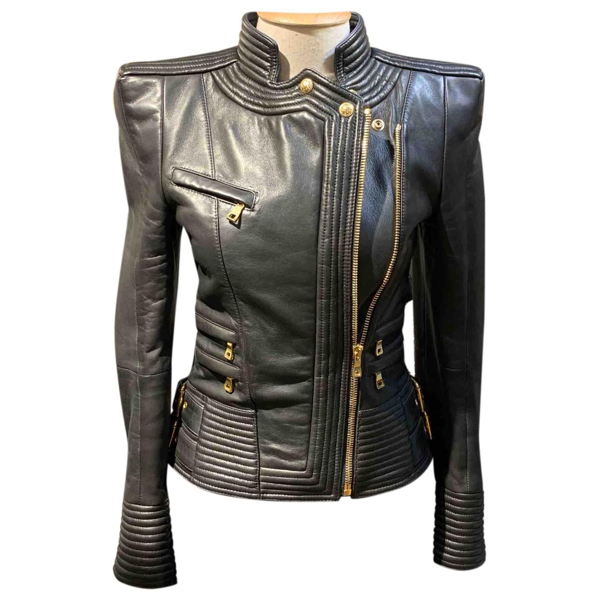 Balmain N Black Leather Leather jacket for Women 36 FR