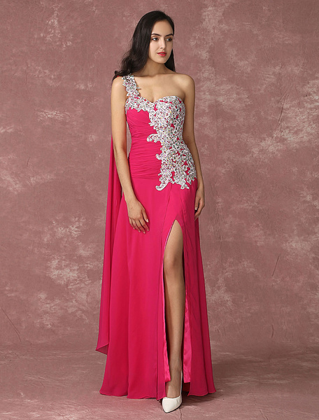 Milanoo Rose Evening Dress Chiffon Split Pageant Dress One Shoulder Applique Sequin Ruched Occasion Dress In Floor Length