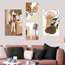 4pcs Abstract Pattern Wall Painting Without Frame