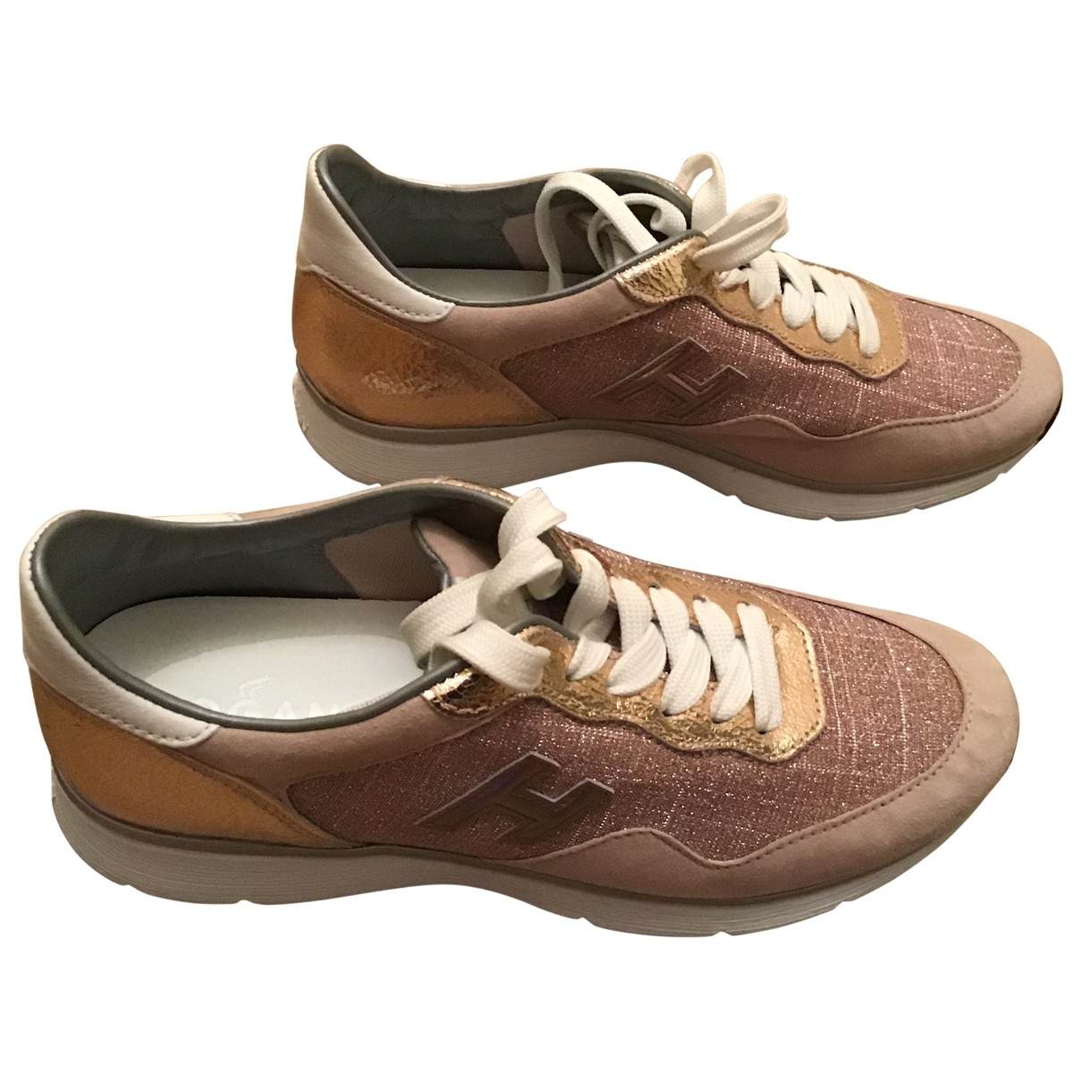 Hogan \N Gold Leather Trainers for Women 38.5 EU