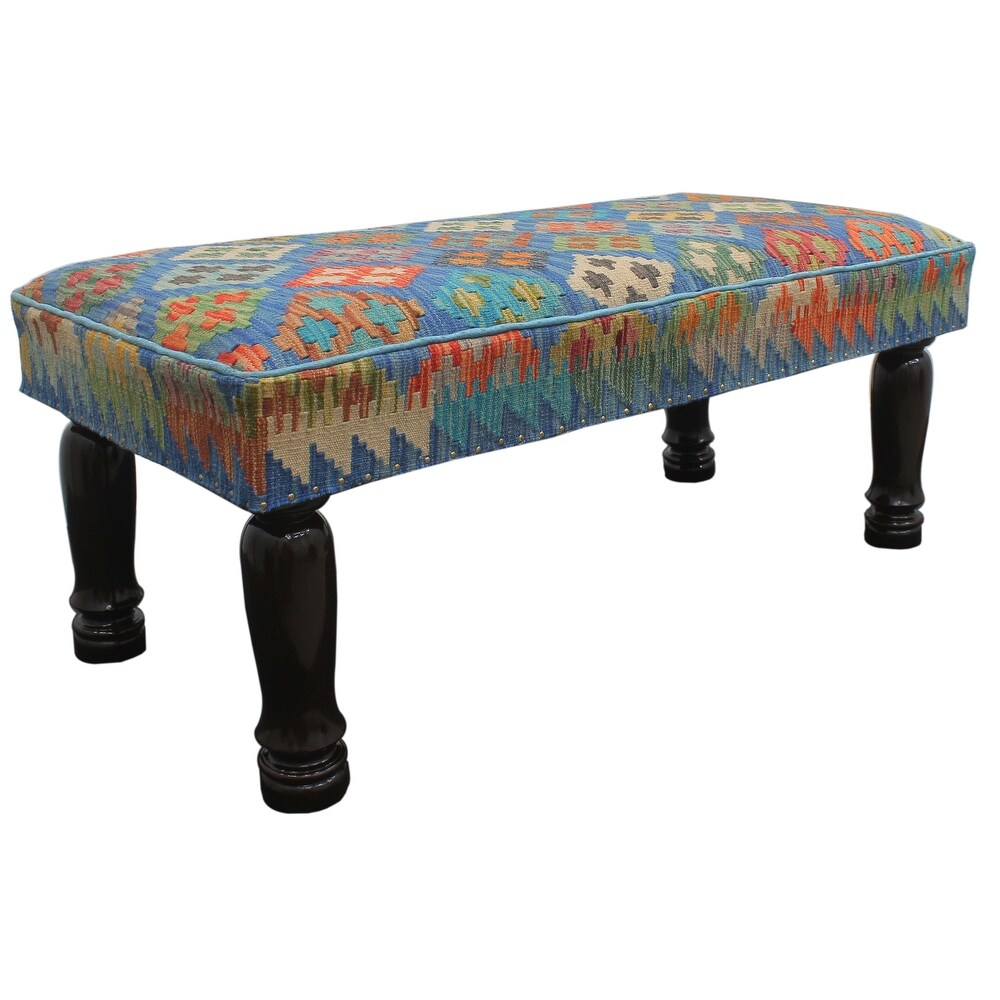 Charley Blue Red Kilim Upholstered Settee 48