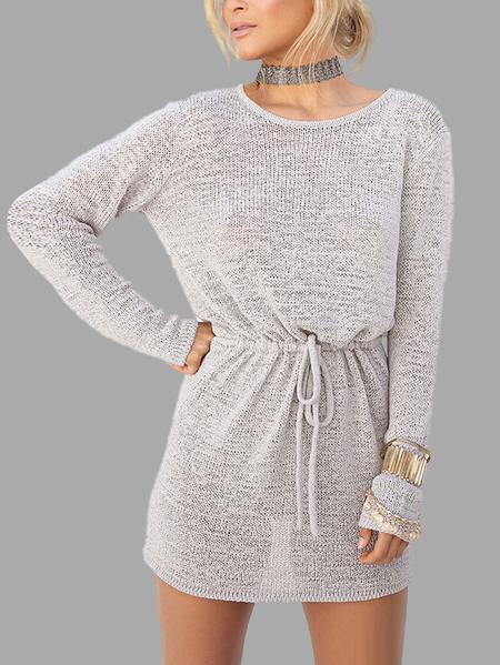 Yoins Grey Open Back Drawstring Waist Knit Mini Dress
