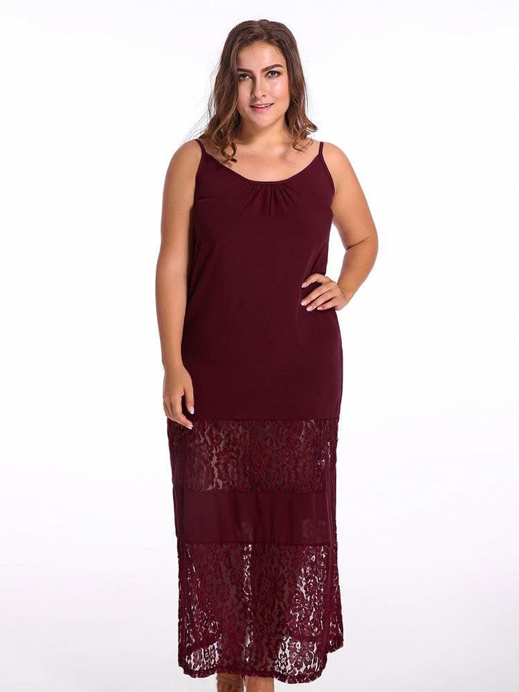 Sexy Bohemian Strap Lace Patchwork Beach Maxi Dress