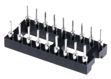 E-TEC 2.54mm Pitch Vertical 18 Way, Through Hole Turned Pin Open Frame IC Dip Socket, 3A (22)