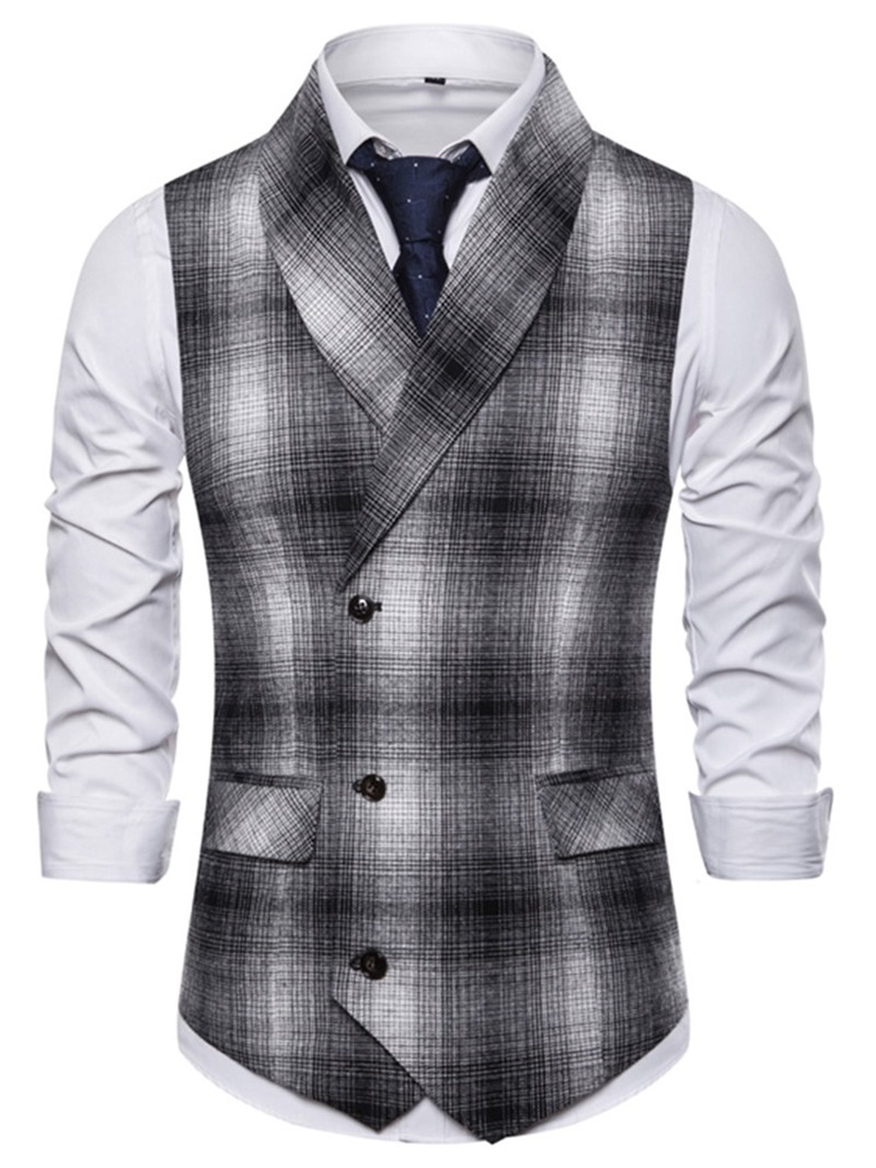 Ericdress Patchwork Color Block Men's Double-Breasted Waistcoat