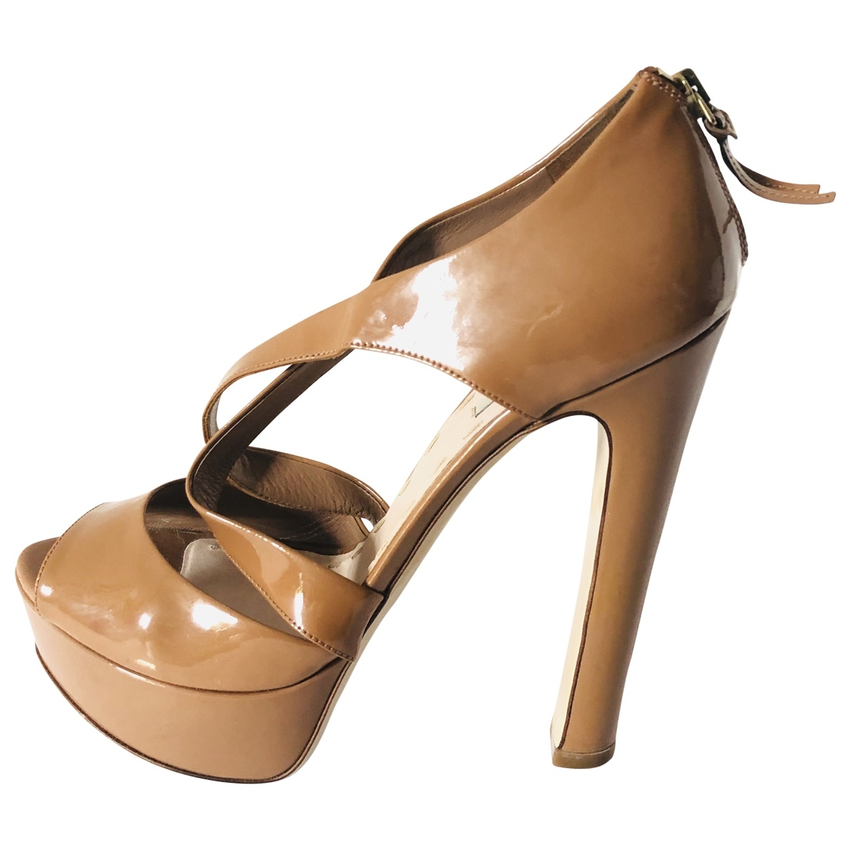 Miu Miu \N Camel Patent leather Sandals for Women 38.5 EU