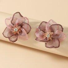 1 Paar Blume formige Ohrstecker mit Strass