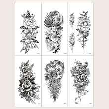 6pcs Floral Pattern Tattoo Sticker