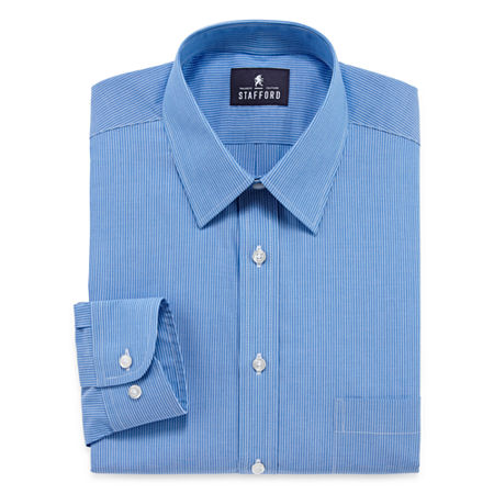 Stafford Mens Point Collar Long Sleeve Wrinkle Free Stain Resistant Dress Shirt, 14.5 32-33, Blue