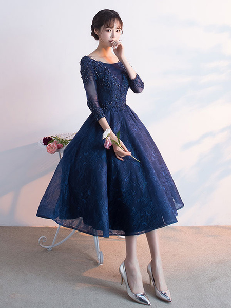 Milanoo Dark Navy Prom Dress Lace Applique Beading Cocktail Dress Jewel 3/4 Length Sleeve A Line Tea Length Party Dress