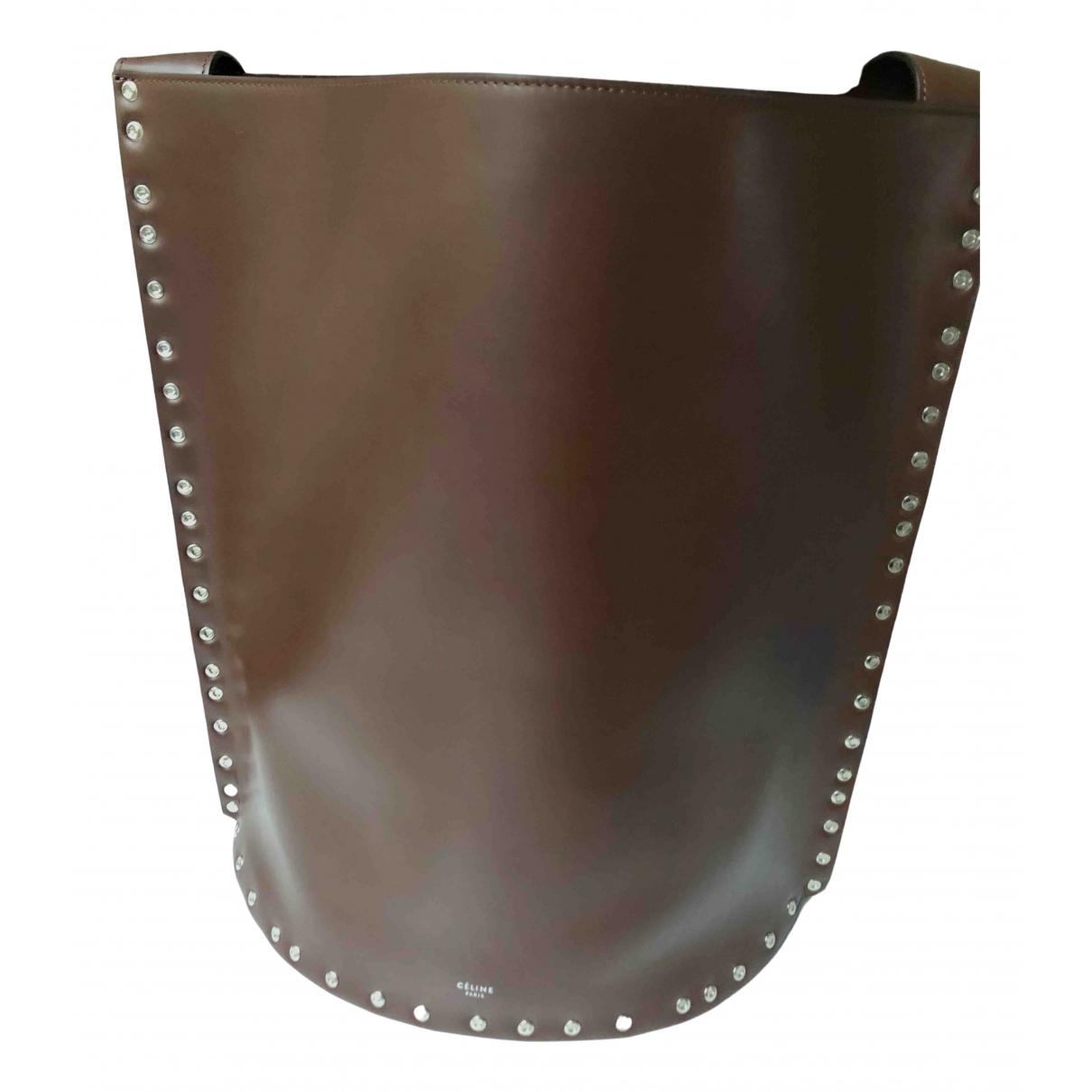 Celine Seau Sangle Handtasche in  Braun Leder
