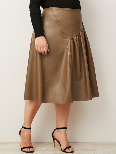 Yoins Plus Size Brown Pleated Faux Leather Skirt