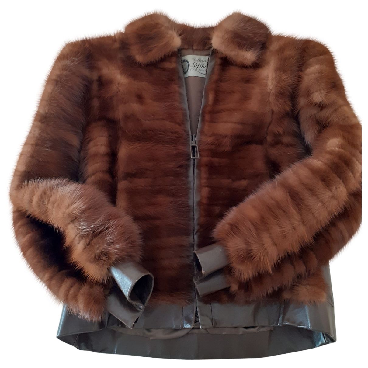 Non Signé / Unsigned \N Brown Mink Leather jacket for Women 38 FR