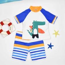Toddler Boys Cartoon Croc & Striped Swimsuit