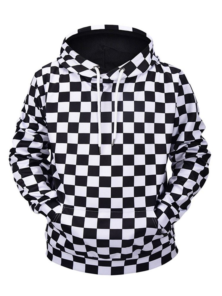 3D Black and White Grids Casual and Soft Long Sleeve Hooded Sweatshirt