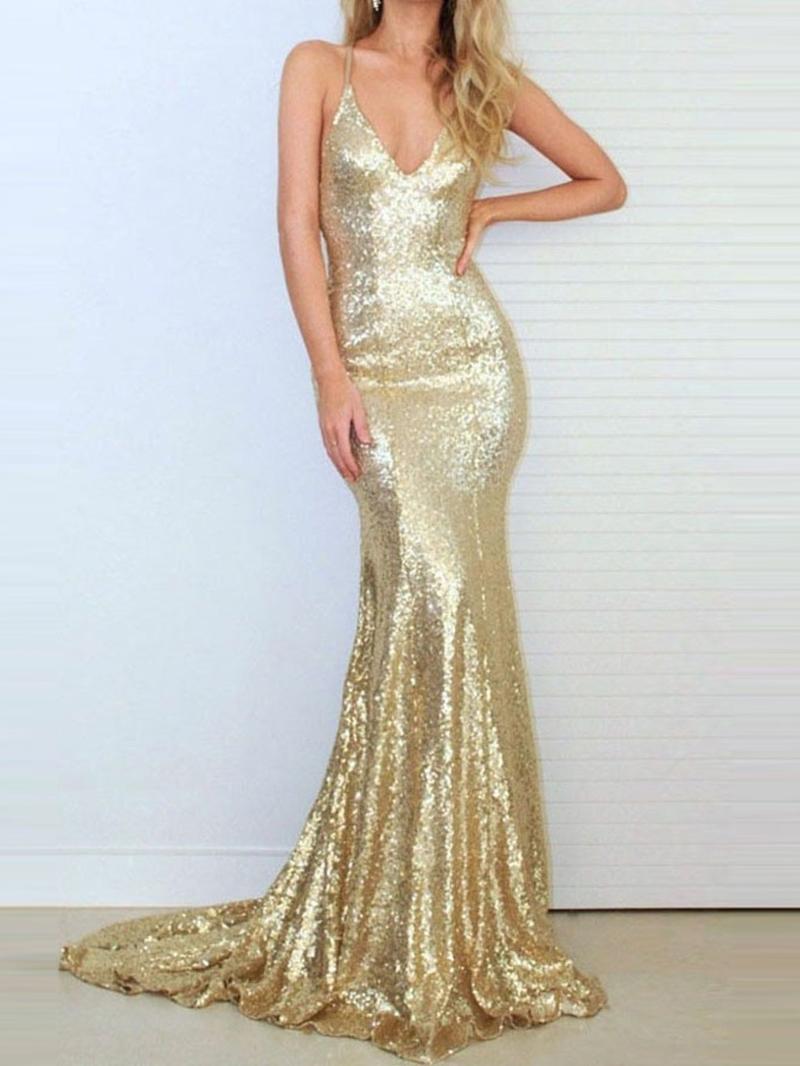 Ericdress Spaghetti Straps Sequin Mermaid Evening Dress