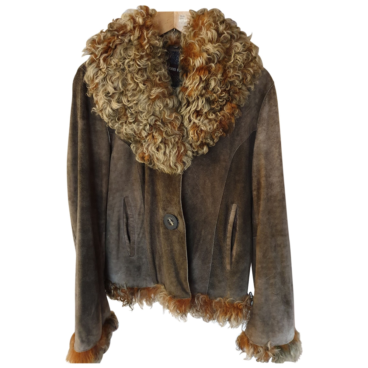 Non Signé / Unsigned \N Brown Suede Leather jacket for Women 44 IT