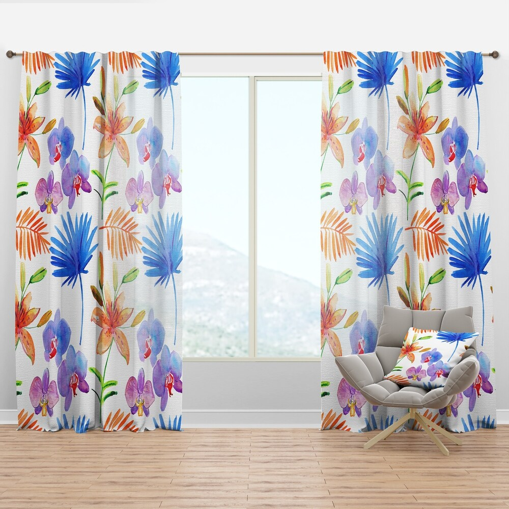 Designart 'Watercolour Orchids' Floral Curtain Panel (50 in. wide x 63 in. high - 1 Panel)