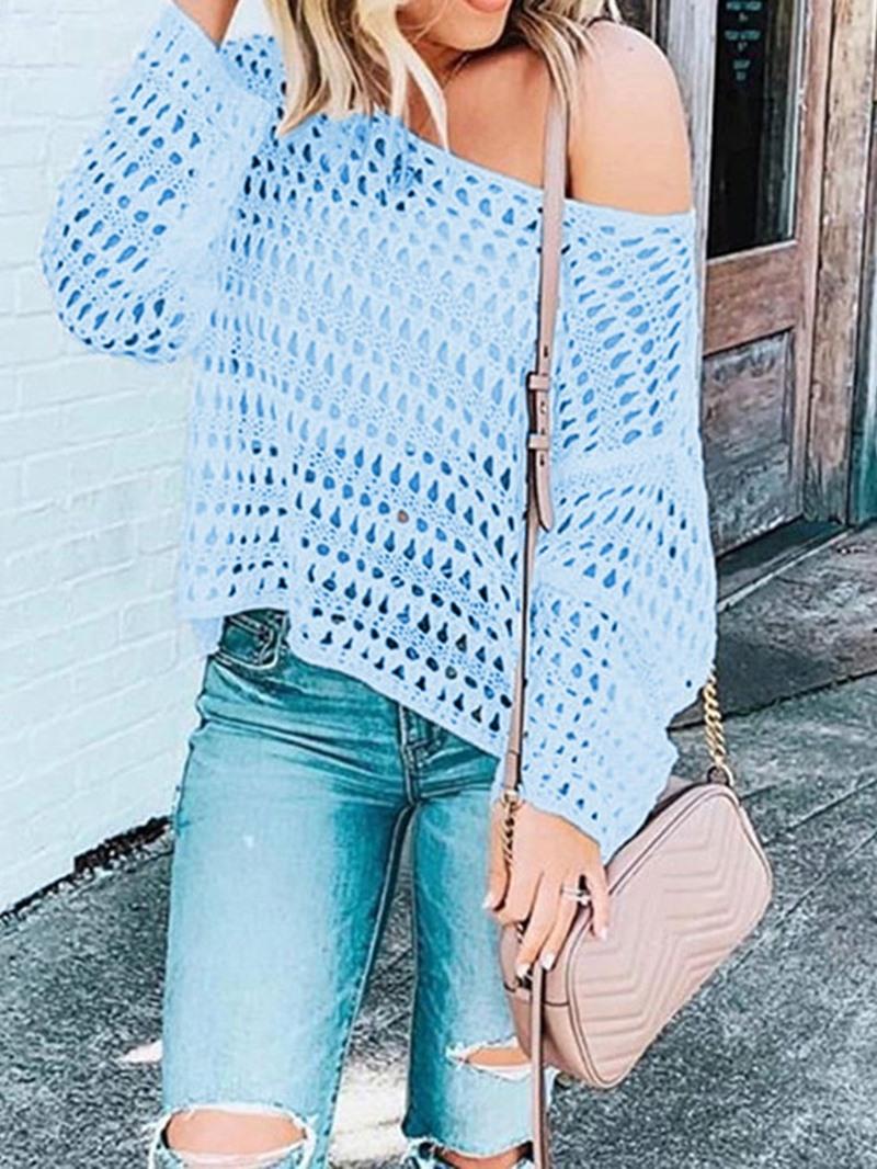 Ericdress Plain Hollow Off-Shoulder Loose Sweater