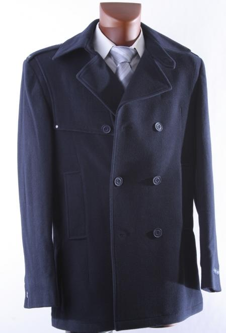Mens Double Breast Navy Luxury Wool Winter Coat
