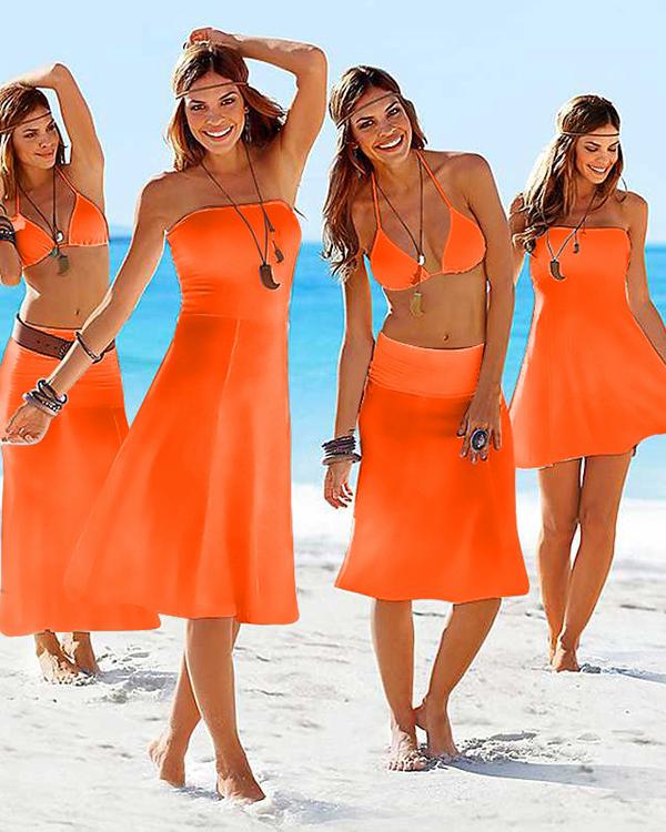 Solid Color Maxiskirt Monokini Boob Top One-piece Swimwear