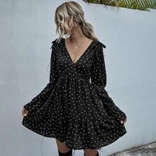 Confetti Heart Surplice Front Ruffle Hem Dress