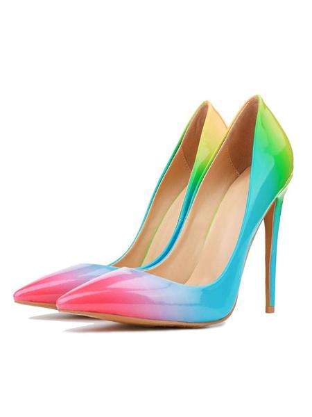 Milanoo Women\s Pumps Pointed Toe Stiletto Heel Sexy Light Sky Blue Ombre Color Block Women Shoes