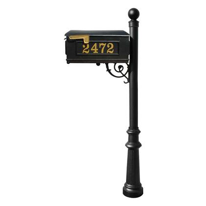 LMCV-804-BL Lewiston Equine Mailbox Post System with decorative fluted base  ball finial and Gold Vinyl personalized
