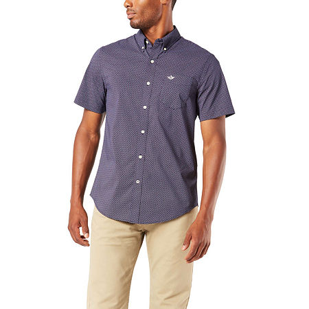 Dockers Mens Short Sleeve Plaid Button-Down Shirt, Xx-large , Blue