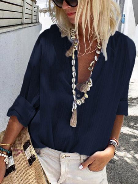 Milanoo Camisa casual azul Camisa Mujer Botones con cuello en V Blusa de manga larga