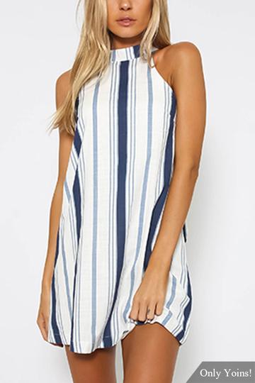 Yoins Navy Stripe Halter Neck Mini Dress