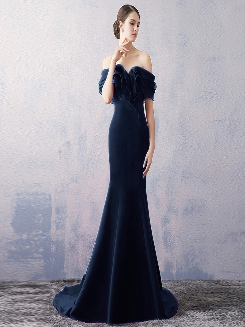 Ericdress Off-the-Shoulder Mermaid Pick-Ups Court Train Evening Dress