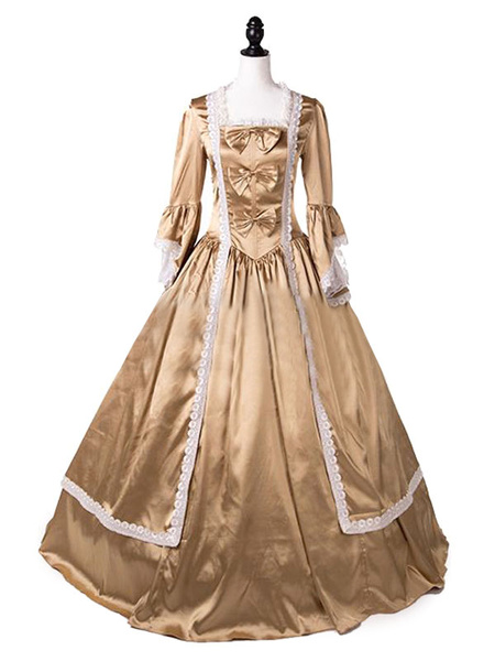 Milanoo Victorian Dress Costume Gold Lace Bows Ruffles Long Sleeves Satin Long Victorian era Clothing Party Dress For Women Halloween