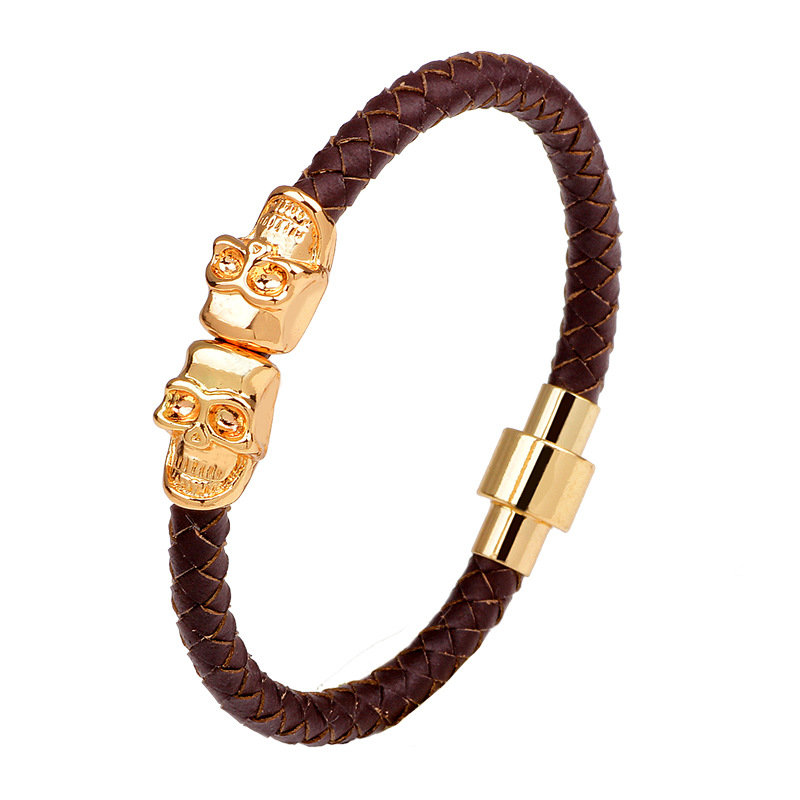 Men's Retro Gold Skull Bangle Bracelet Multicolor Leather Chain