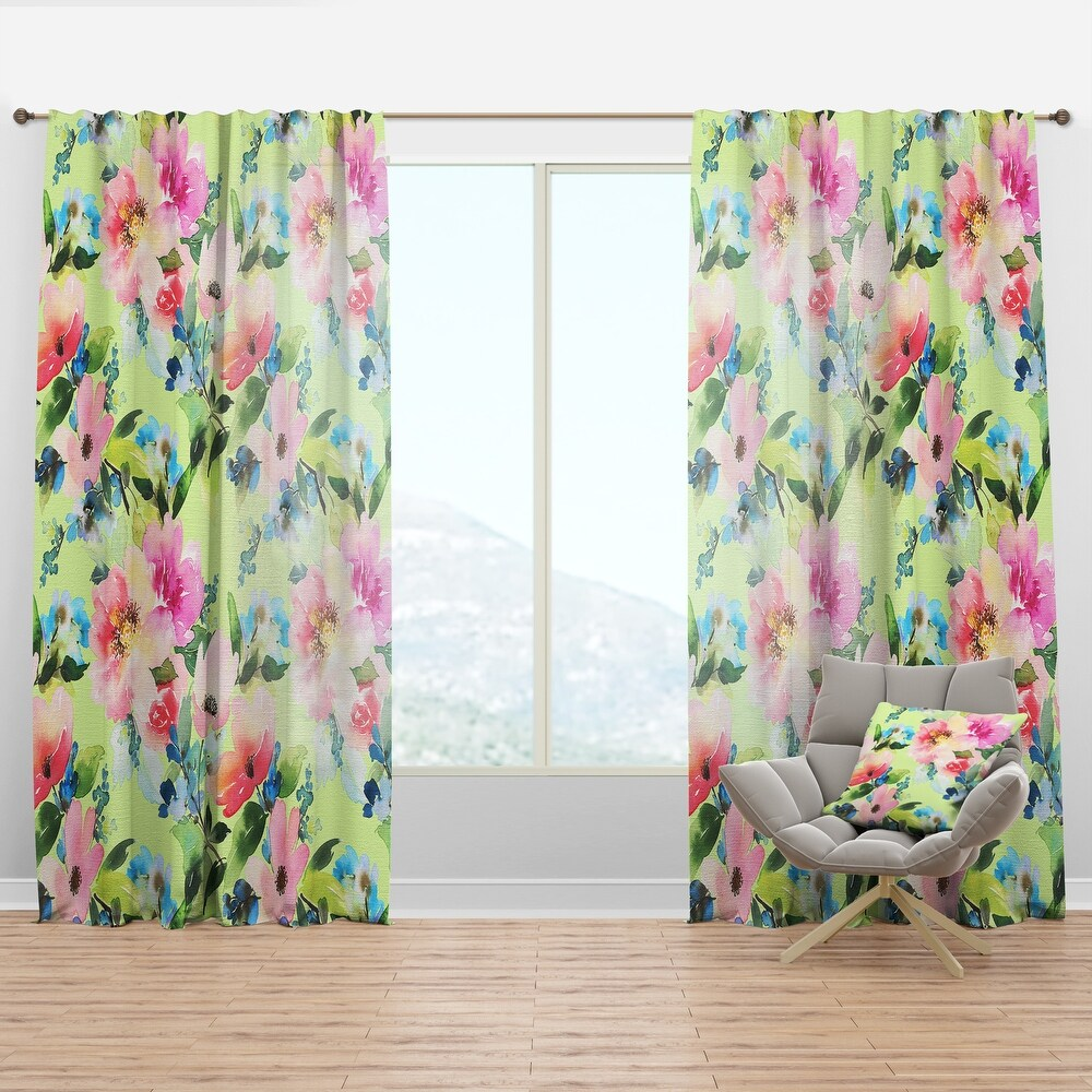 Designart 'Floral Botanical Retro IV' Mid-Century Modern Curtain Panel (50 in. wide x 95 in. high - 1 Panel)
