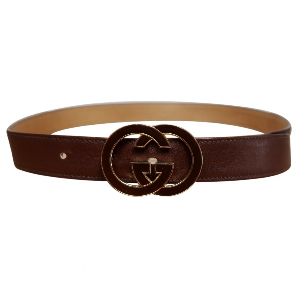 Gucci GG Buckle Brown Leather belt for Women 70 cm