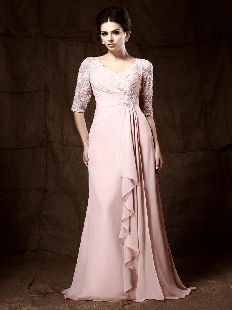 Ericdress Lace Beaded Half Sleeve Mother of the Bride Dress