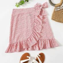 Knot Side Ruffle Hem Ditsy Floral Skirt