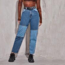 High Waist Color Block Jeans Without Belt