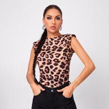 Tank top con hombrera con estampado de leopardo