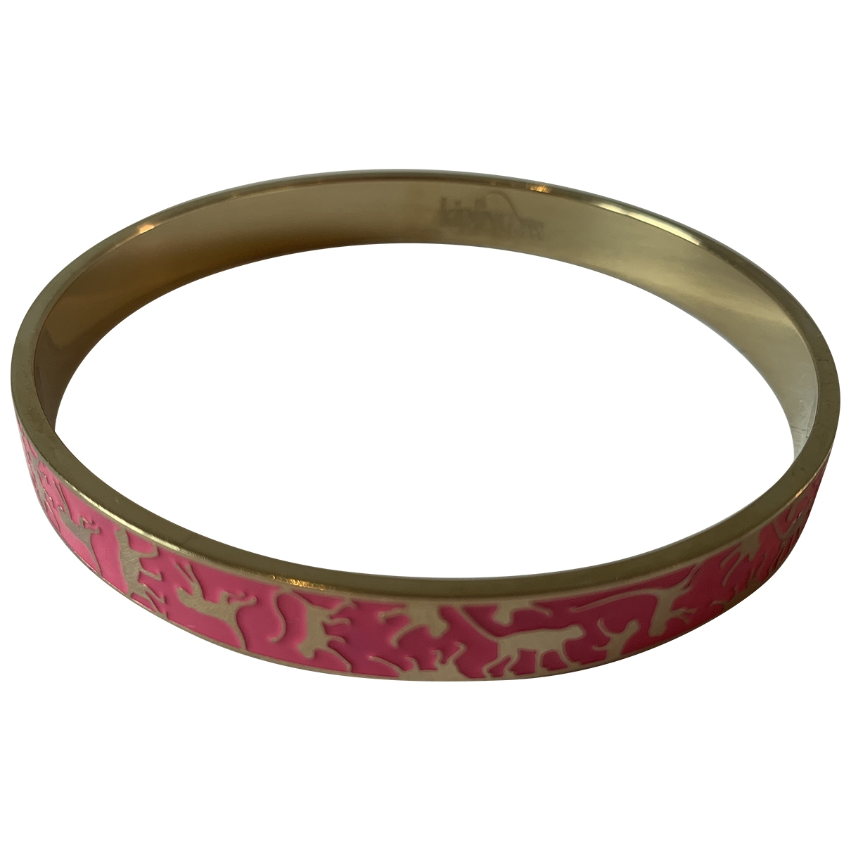 Non Signe / Unsigned Motifs Animaliers Armband in  Rosa Metall