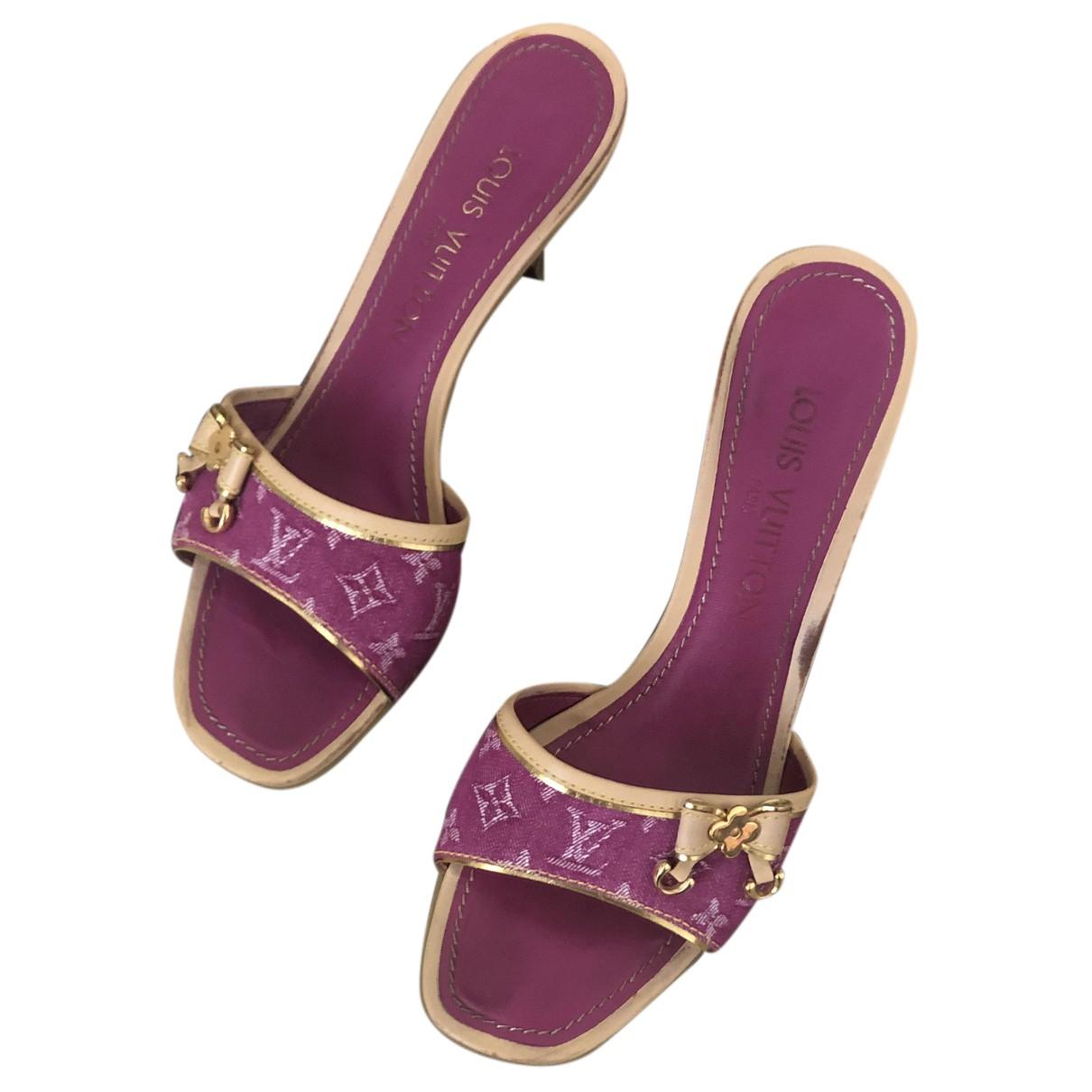 Louis Vuitton N Pink Cloth Sandals for Women 37 EU
