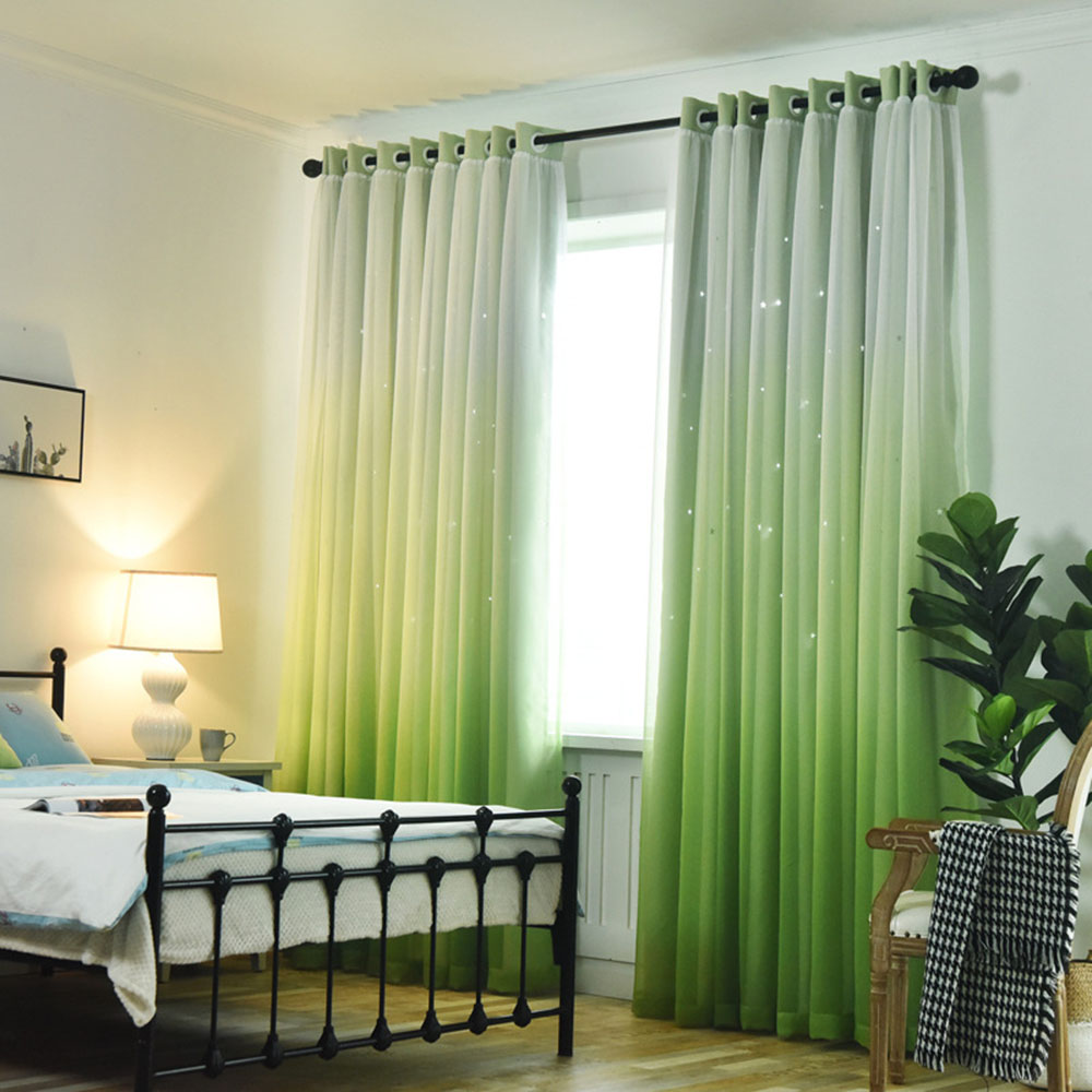 Princess Gradient Blackout Decoration Heat Insulation Custom Curtain Sets for Living Room Bedroom 84W 84L 2 Panel Set