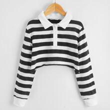 Pullover mit Streifen und Knopfen vorn