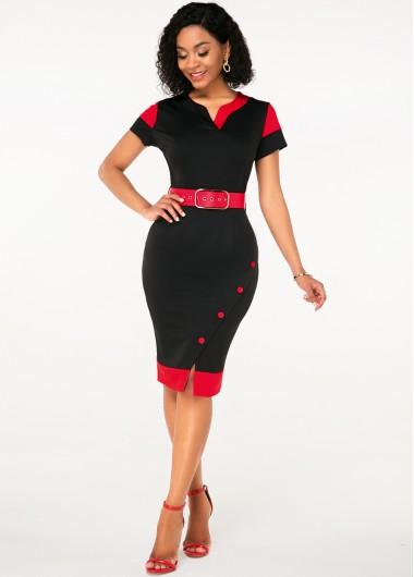 Black Dresses Split Neck Button Detail Belted Dress - XL