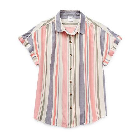 Arizona Little & Big Girls Short Sleeve Button-Down Shirt, Large (14) , Blue